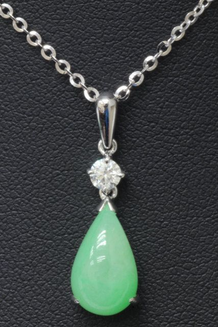 Certified Natural Type A Jadeite Diamond 18K Pendant. Icy Green.
