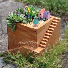 Plantes succulentes bois carré étape pot bricolage cactus bonsaï pot de fleur plateaux bureau à domicile décoration boîte de rangement vase(China (Mainland))