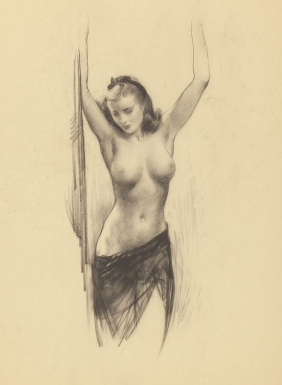 Gil Elvgren  Nude with Lifted Arms.  Heritage Auctions: