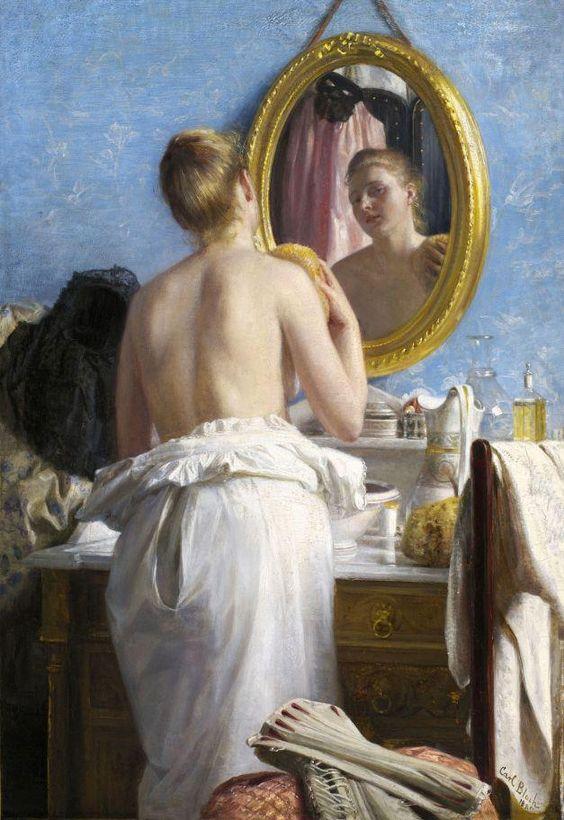 'Woman at her Toilette', 1882 Carl Bloch (Danish 1834-1890)