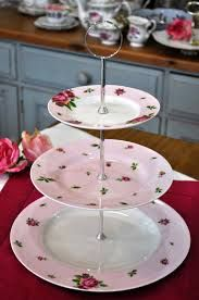 Royal Albert New country rose pink plates 3 tier cake stand