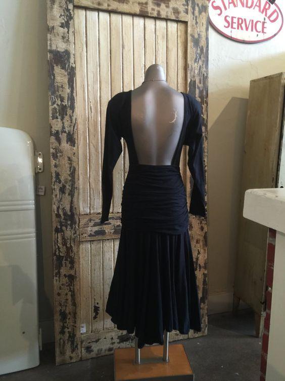 1980s black cotton jersey dress 80s artsy backless by melsvanity