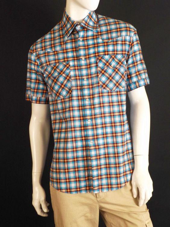 MICHAEL BASTIAN-Cotton Plaid Western Cut Shirt, Size-Large