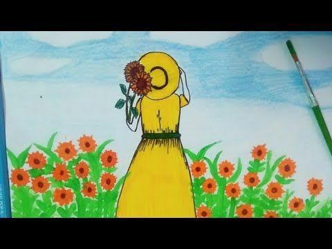 رسم فتاه في مزرعه دوار الشمس عباد الشمس رسم فتاه و دوارة الشمس Drawing Girl And Sunflower Youtube Sunflower Art Girl Drawing Drawings