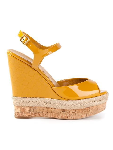 Gucci Yellow Platform Wedge Sandals €264 SS2014 #Gucci #Wedges #Shoes