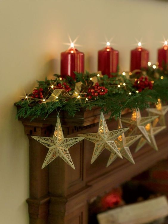 5 1 ideas para decorar la chimenea por navidad home - Chimeneas para decorar ...