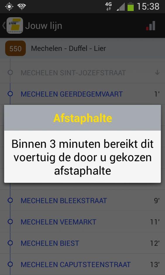 De nieuwe app 'halteaankondiging' vertelt reizigers van De Lijn over hoeveel minuten ze aan hun volgende haltes zijn. Drie minuten voor de afstaphalte krij...