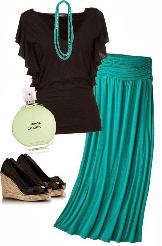 Fashionable V-neck shirt with skirt and necklace. Need to design from #norefresh