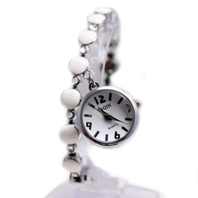 FW934A PNP Shiny Silver Watchcase White Dial Ladies Women Pendant Bracelet Watch