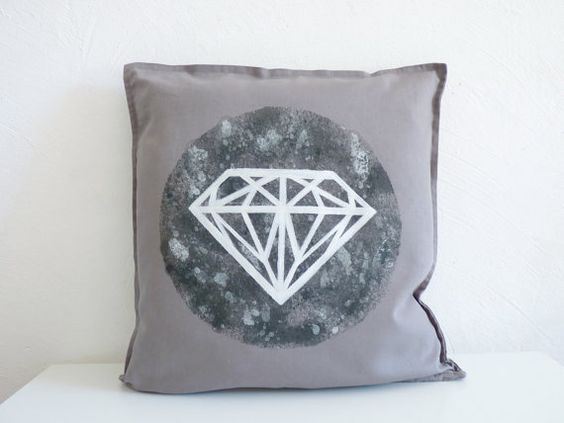 "White diamond pillow case/cushion cover. Monochrome design. Hand painted cotton. 20"" x 20"""