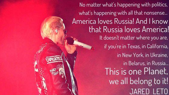 America loves Russia! And Russia loves America!  @JaredLeto @30SECONDSTOMARS #MarsInRussia #LoveLustTour