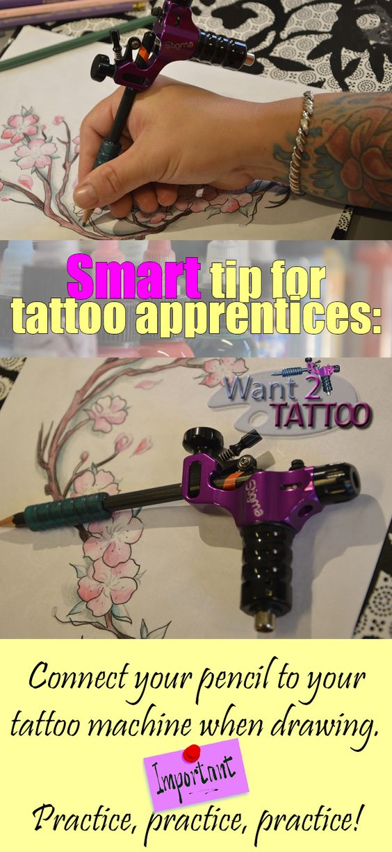 Hot tip for a tattoo apprentice! Practice drawing with your tattoo machine and a pencil. This will help you to get used to balancing the weight of the machine when you tattoo. ;-)