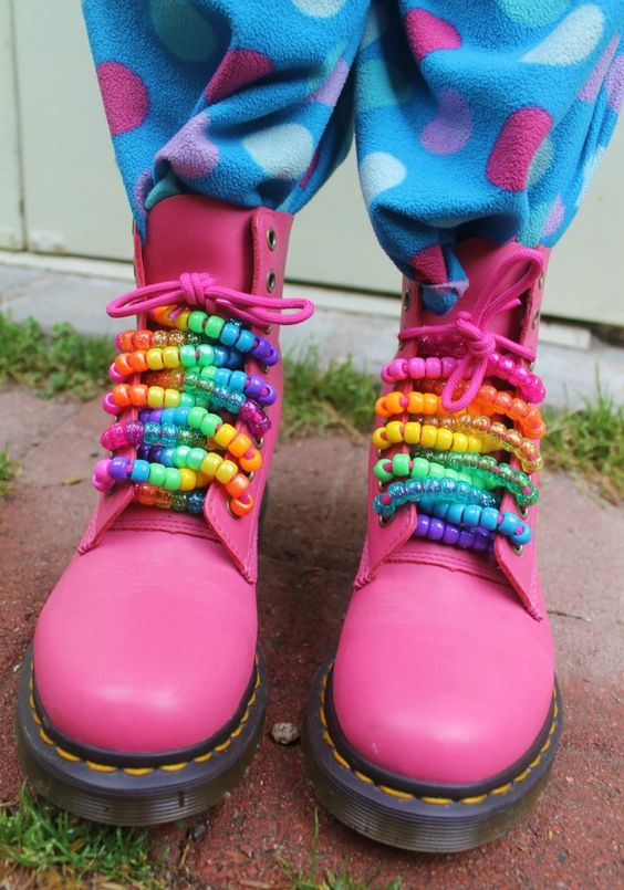 Dr. Martens in Pink with strings colorful