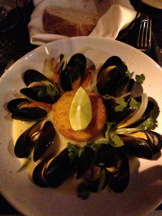 Mussels - A simple meal with fine Italian bread a spendid white wine