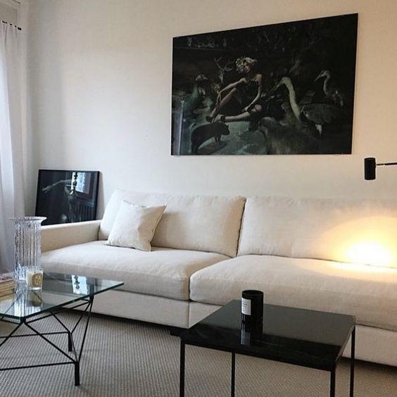Vardagsrum vardagsrum soffa : Vit Valen XL soffa. Dun, linne, låg, djup, vardagsrum, möbler ...