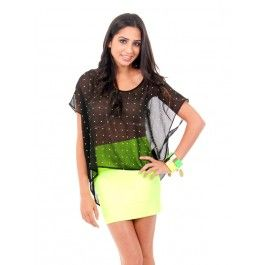 For Neon Lovers..this is the IT outfit  Bandage like really tight Bandage skirt and The Dots on the top are Neon too $29.99