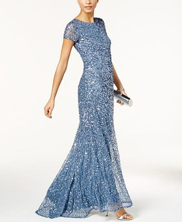 Adrianna Papell Beaded Ombre Gown Macys Com Military Ball Gowns Unique Dresses Gowns