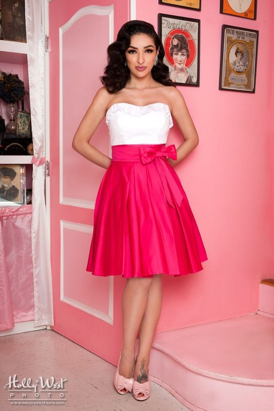 Cute 50's Style High Waist Swing Skirt in Pink | Pinup Girl Clothing