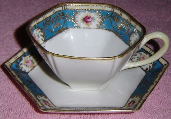 ANTIQUE NORITAKE JEWELLED AND GILDED HEXAGONAL TEA CUP SAUCER SET | eBay