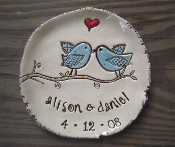 Lovebirds - personalized dish - wedding - anniversary. $23.00, via Etsy.