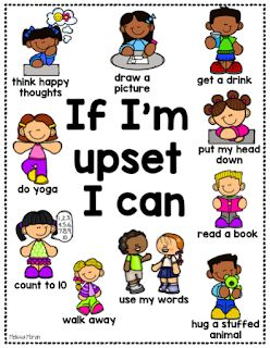 Visual calm down strategies for students.
