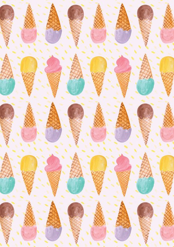 It's almost time for ice cream! A4 Ice Cream Pattern Print, on environmentally friendly recycled card. Illustrated by Emily Nelson using mixed mediums including digital art,