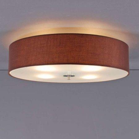 Deckenleuchte drum 50 rund braun lampe light einrichten for Deckenleuchte wohnzimmer rund
