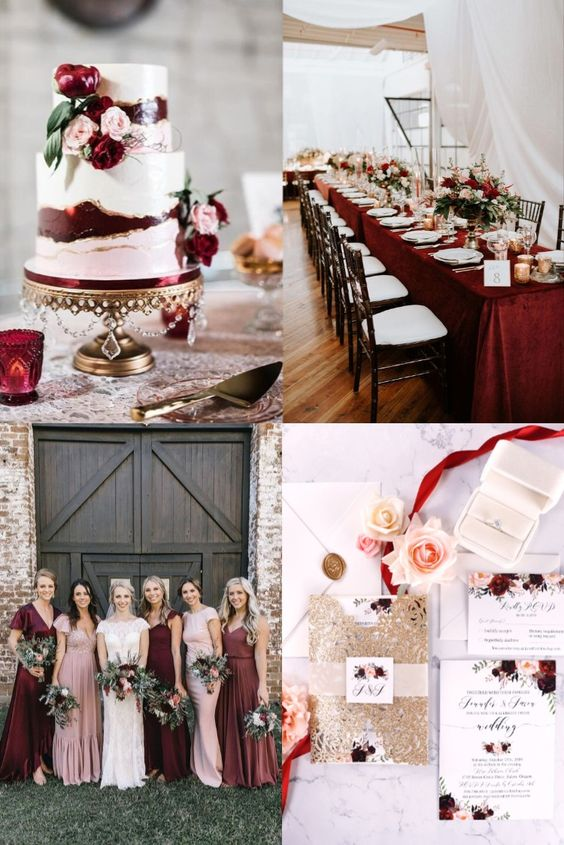 The Best Gold Wedding Colors Combos for 2021: Gold + Burgundy Wine