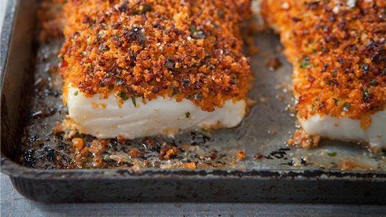 Hairy Bikers baked fish and chorizo crust!            https://www.hairybikersdietclub.com/recipes-tips/recipes/baked-fish-with-chorizo-crust/