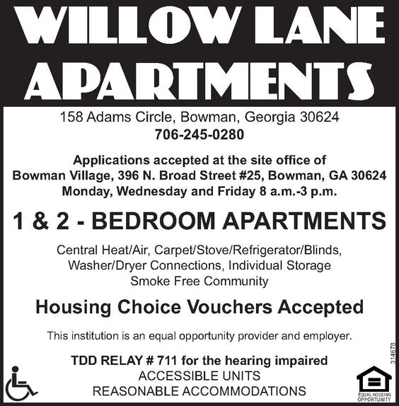 Applications Accepted At The Site Office Of Bowman Village 396 N