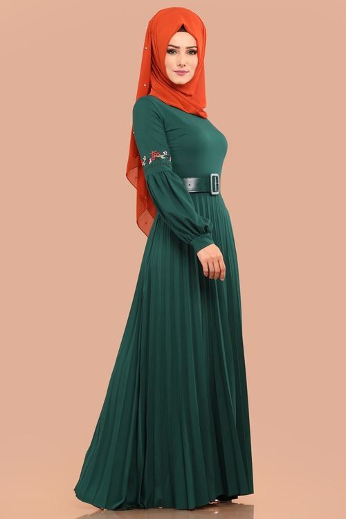 Modaselvim Elbise Balon Kol Piliseli Elbise Pl847 Zumrut Dresses Fashion Abaya Dress