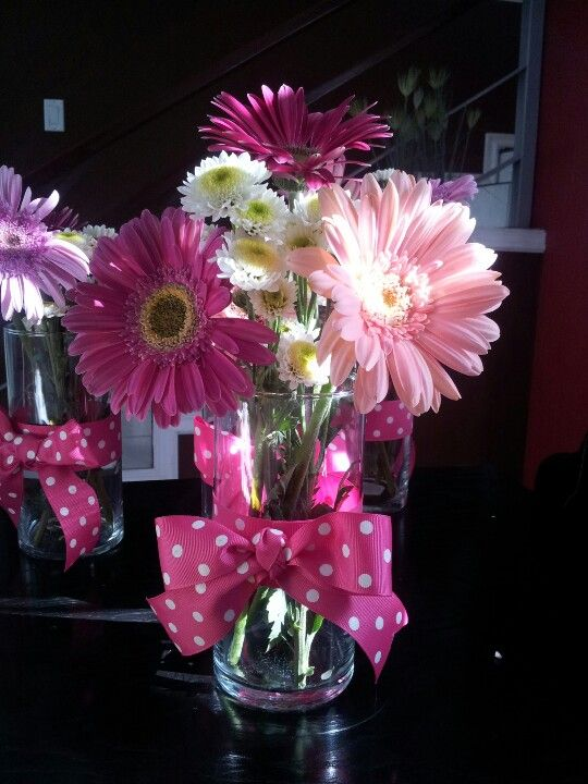 Pink baby showers carnations and shower centerpieces