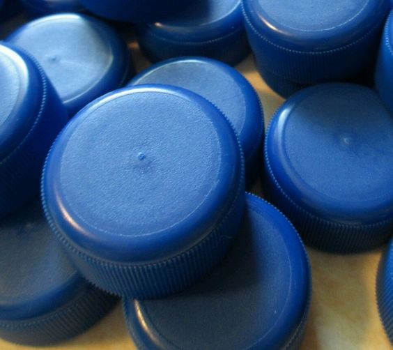 160 Blue Plastic Fiji Water Bottle #caps LIDS TOPS #arts #Crafts CLEAN! upcycled #Crafters