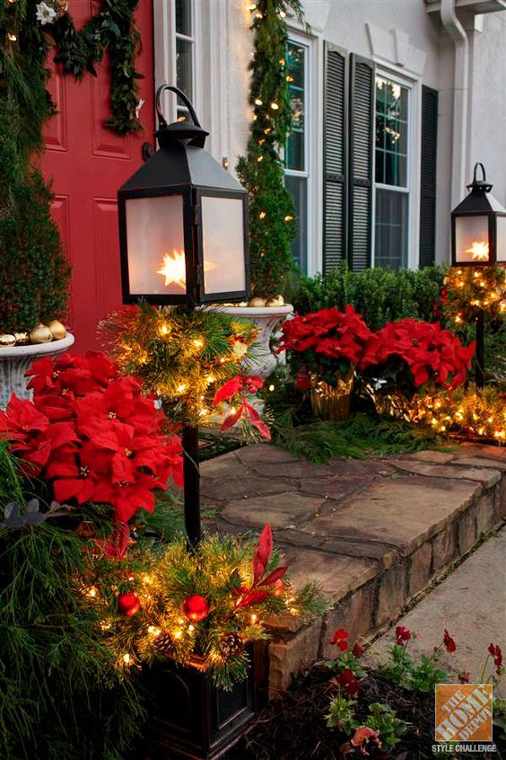 Holiday Door Decorating Ideas for Your Small Porch: Potted Lantern Trees and Silk Poinsettias