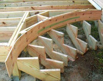 Construction Of An Outdoor Deck Staircase Deck Staircase Curved Deck Outdoor Deck