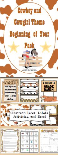 "Cowboy Western Theme Back to School Pack - Saddle up for a great school year! This 88 page file will help you with all aspects of starting your school year. It includes printable Cowboy/Cowgirl themed decorations, an open house scavenger hunt and activities, tons of first week activities, first week parent communication, multiple ""get to know you"" activities, and much, much more! It now includes a link to an EDITABLE file with labels, letters, and activities from the pack! $"