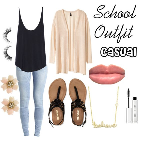 School Outfit by aalayahrun on Polyvore featuring Zara, H&M, Object Collectors Item, Aéropostale, Sydney Evan and Bobbi Brown Cosmetics