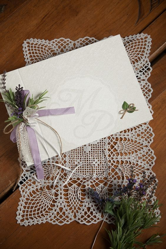 Elegant levander themed wedding guest book: