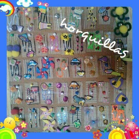 horquillas para niñas diseños originales hecho a mano con varios materiales