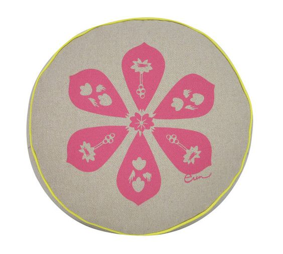Pink Round Silk Screened Blossom Cushion w/ yellow by erinflett, $75.00