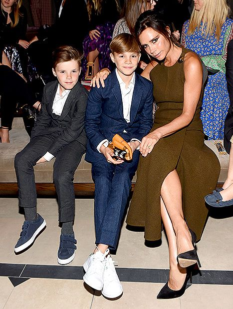 Cruz, Romeo and Victoria Beckham sit front row at the Burberry show in LA