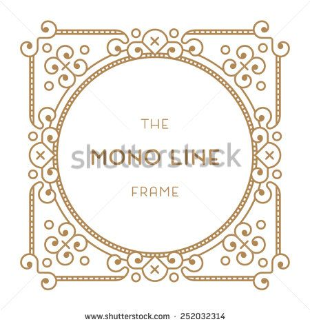 Geometric frame in trendy mono line style. Gold Color - stock vector