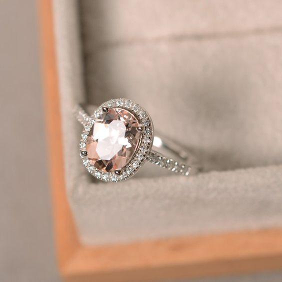 Natürliche Morganit Ring, Sterling silber, Edelstein Rosa Morganit, Halo-Ring, Verlobungsring