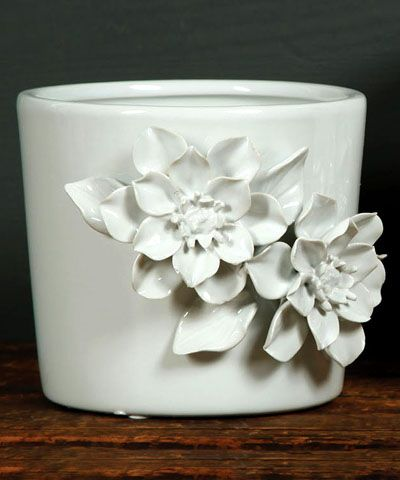 Cachepot with Magnolia - White