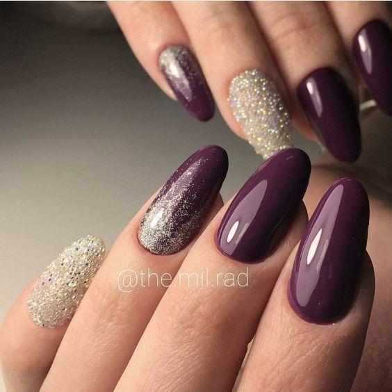 Вечерние ногти, Вечерний дизайн ногтей, Вечерний маникюр, Дизайн овальных ногтей, Идеи вечернего маникюра, Маникюр под вечернее платье, Маникюр темного цвета, Нарядный маникюр