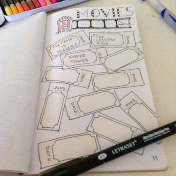 """By I. Boers of the FB Group, """"Bullet Journal for Travelers Notebooks. Great Summer movie memory/tracker."""