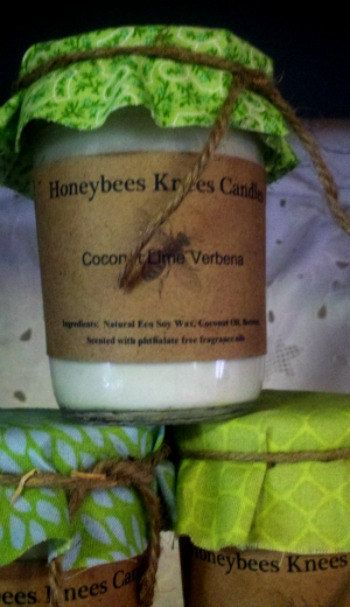 Coconut Lime Verbena  Wooden Wick Honeybees Knees Soy Blend Candle (8oz). $12.75, via Etsy.