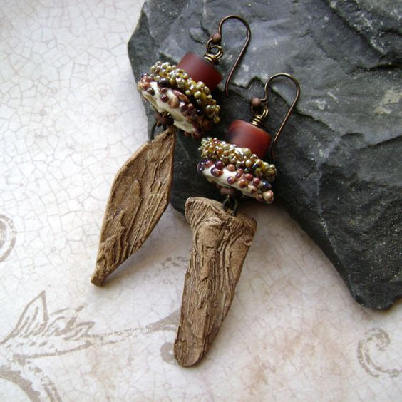 Lichen on Bark mixed media earrings by AnvilArtifacts