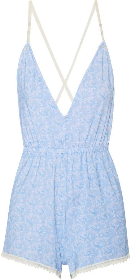So simple and cute. I love this color and the small print on this baby blue playsuit