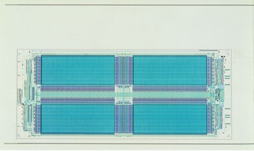 Texas Instruments, Inc., Dallas, TX. Diagram of a Dynamic Random-Access Memory Chip (DRAM), Corresponding Microchip. 1985